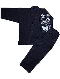[江戸てん]作務衣 デニム生地 (綿100%)しっかりしているのに柔らかい さむえ 無地 通年 メンズ 紺/黒/茶/緑