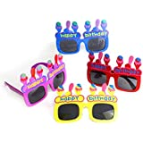 Fun中央at802 12 ct Happy Birthday Ice CreamサングラスShades – Forキッズ誕生日パーティーSupplies、ギフト、大人のRewards and Decorations – Assorted 4色