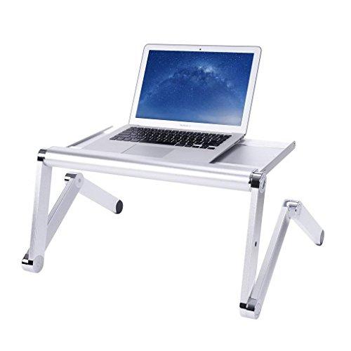 TOPTIP 折り畳み式ノートパソコンテーブル全金属製360度調節可能 全金属アルミ製 マウス板搭載 (50センチ銀色)