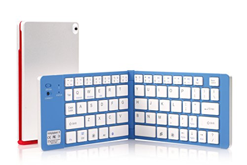 Bluetooth キーボード 超薄 内蔵電池 Windows/iOS/Android切替 折りたたみ式 iPad Air/iPhone6s /6s plus/Windows/Xperia 適用(ゴールド/ブラック)(シルバー/レッド)(シルバー/ブルー)(日本語取説付き)シルバー/ブルー
