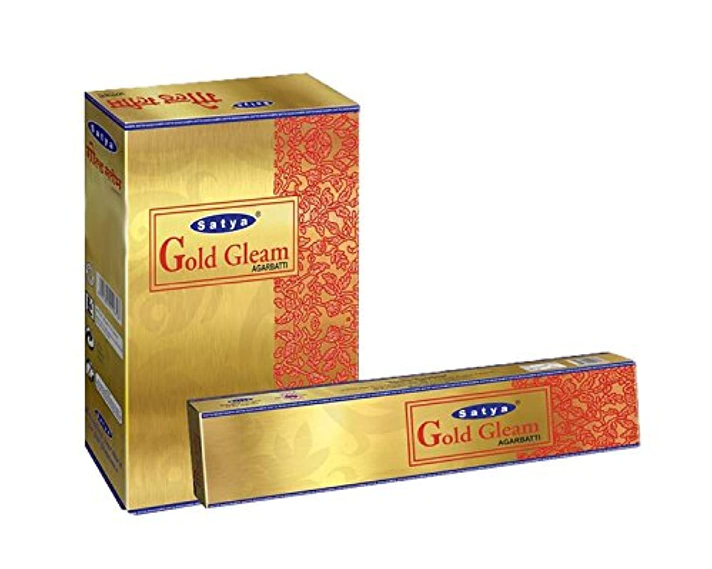 グロー傷つきやすいレベルSatyaゴールドGleam Incense Sticksボックス240 gmsボックス
