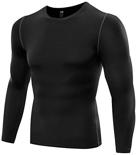 LeoSport 男性 機能性 腹筋 脂肪燃焼 着圧スポーツ姿勢補助 吸汗速乾 長袖 加圧Tシャツ (M, ブラック)