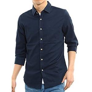 インプローブス 綿麻 シャツ ウッド調ボタン スリム ストレッチ パナマ織りシャツ メンズ B 7分袖 ネイビー M サイズ