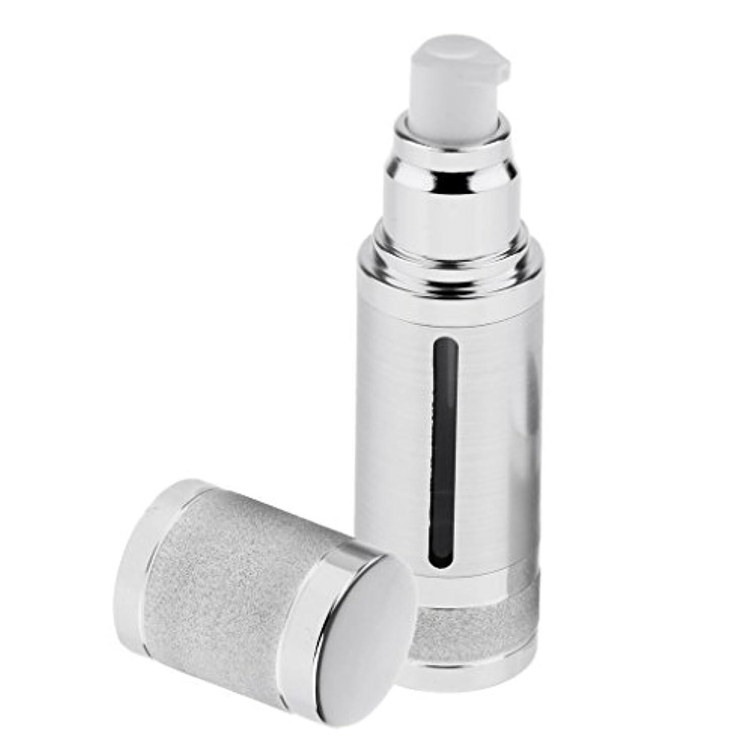 均等に光沢のある高潔なポンプボトル 空ボトル エアレスボトル 30ml ローション クリーム 化粧品 詰め替え 容器 DIY 2色選べる - 銀