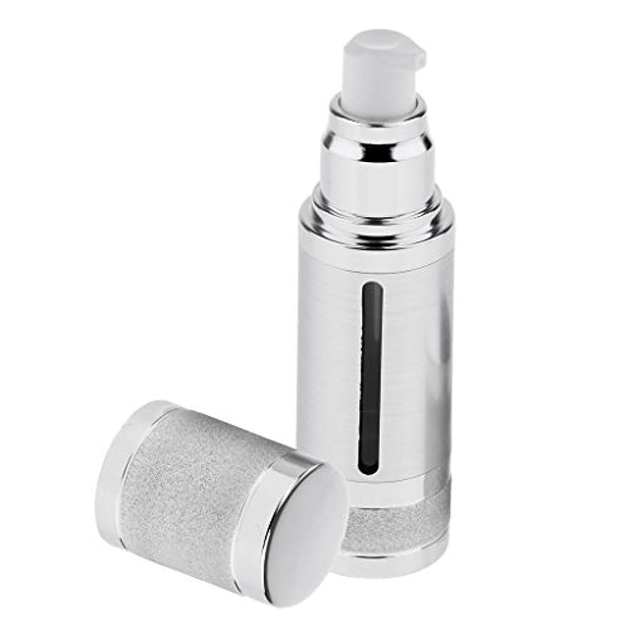 実際の六月陰気ポンプボトル 空ボトル エアレスボトル 30ml ローション クリーム 化粧品 詰め替え 容器 DIY 2色選べる - 銀
