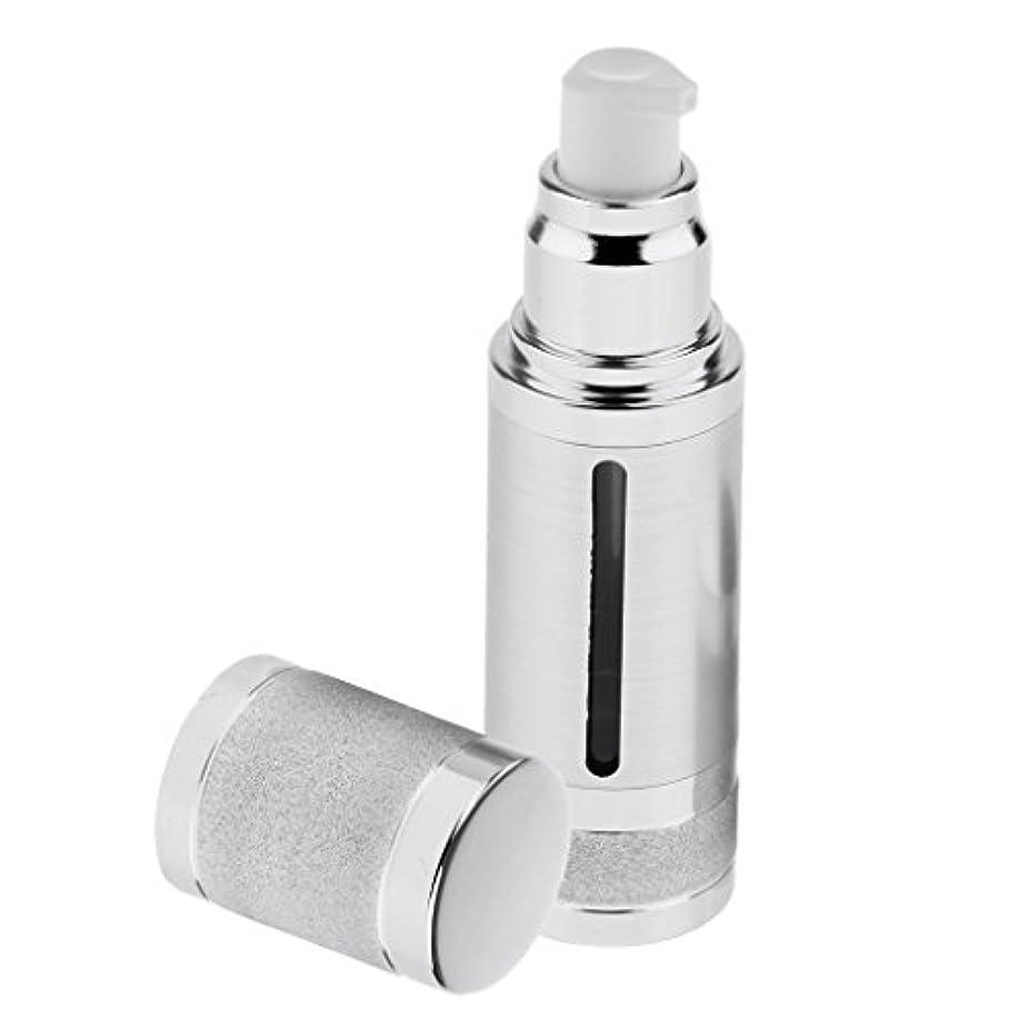 含む謎パウダーポンプボトル 空ボトル エアレスボトル 30ml ローション クリーム 化粧品 詰め替え 容器 DIY 2色選べる - 銀
