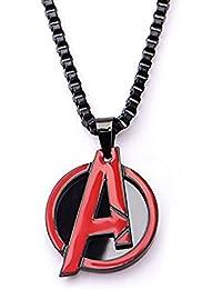 Men 'sステンレススチールMarvel Red Avengers Pendant with 24インチブラックIPチェーン