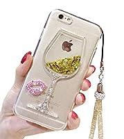 iPhone 6かわいいケース、6s液体グリッターケース、ブラックレモンGobletワインガラス液体Quicksand FlowingフローティングBling Glitterセクシーなメイクアップケースfor Girls withネックストラップ付き iPhone 6/6s