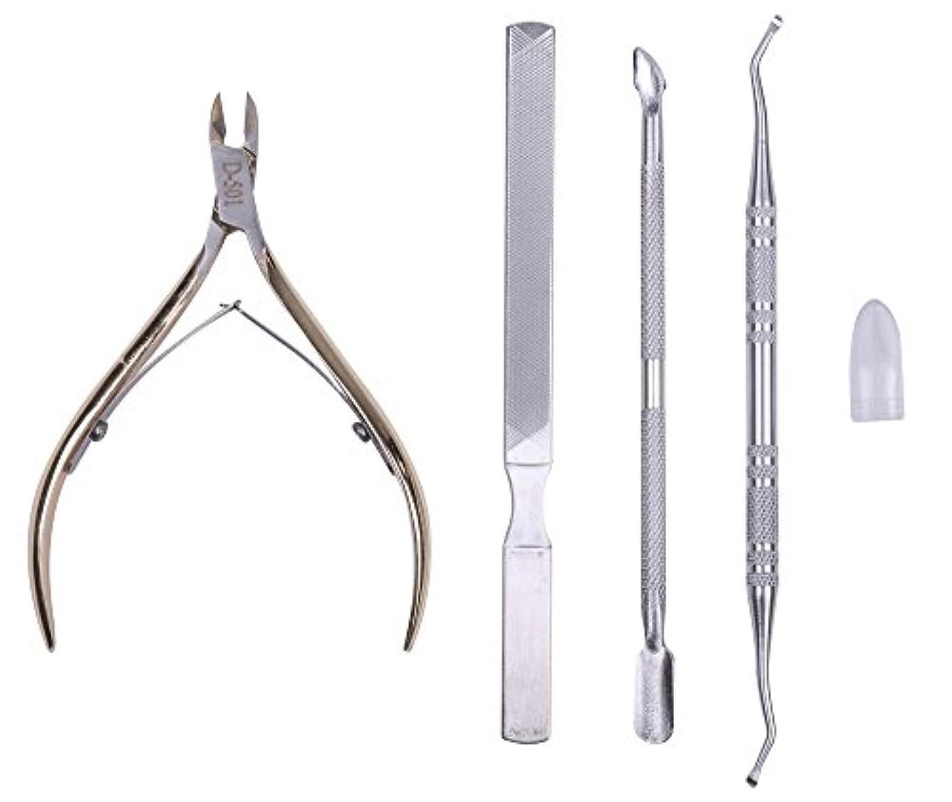 ケージ可能療法巻きづめ 用 ニッパー式 爪切り カッター はさみ ゴールド (爪やすり ゾンデ 甘皮押し)セット