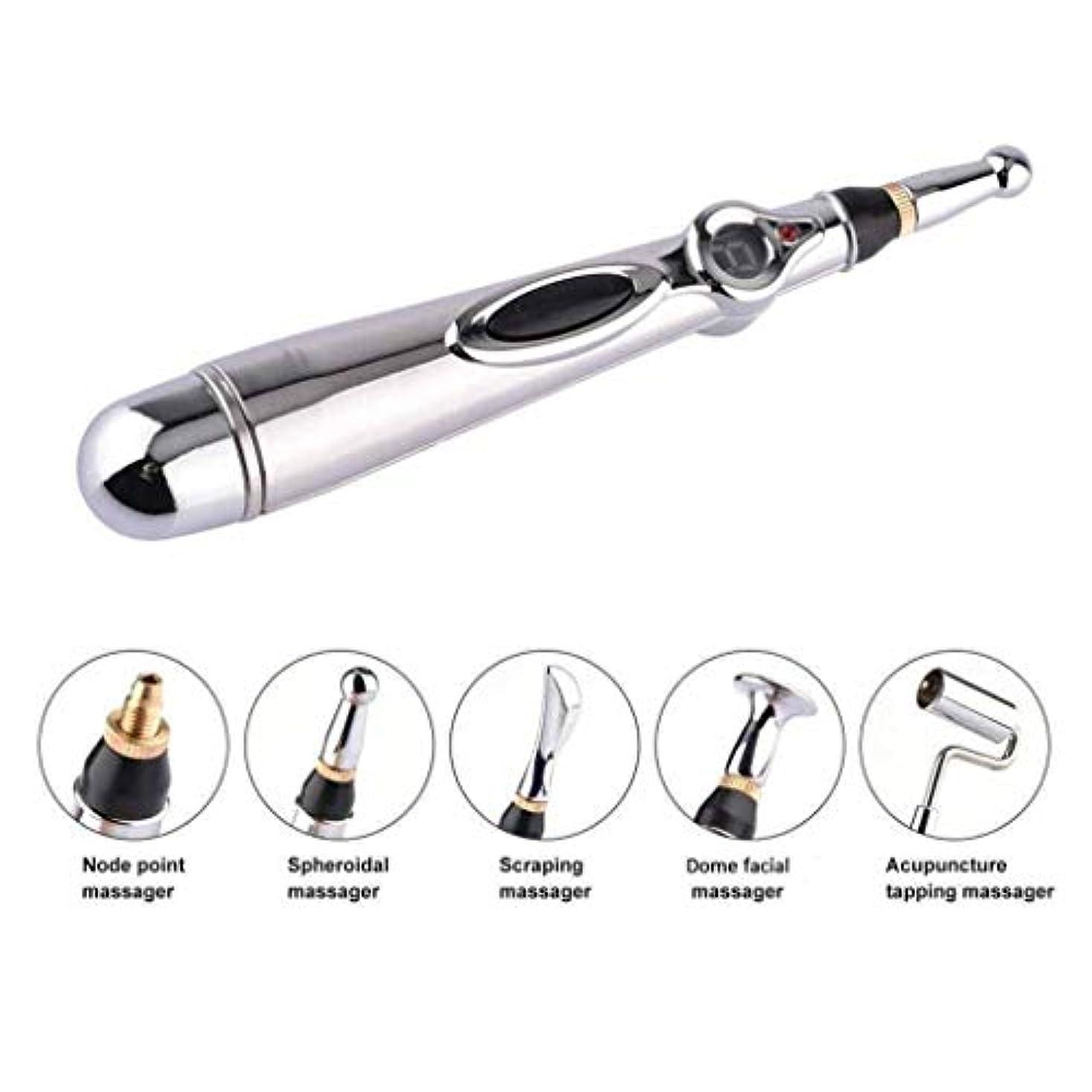 隔離する八百屋胆嚢メリディアンペン、5つのマッサージヘッドを備えた鍼治療用ペン、メリディアンエネルギーポイントペン、鎮痛マッサージツール
