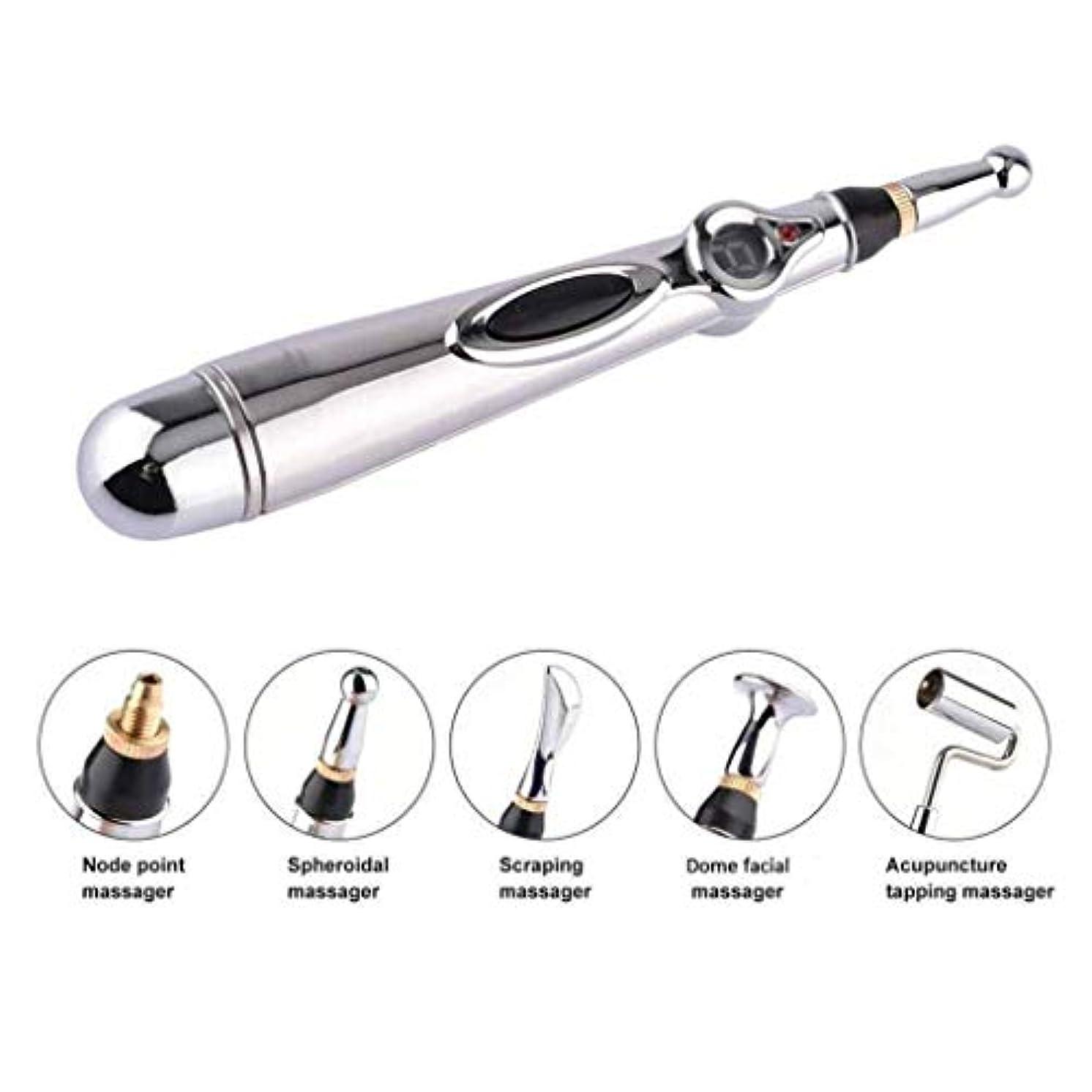 ハイライト交換牧草地メリディアンペン、5つのマッサージヘッドを備えた鍼治療用ペン、メリディアンエネルギーポイントペン、鎮痛マッサージツール