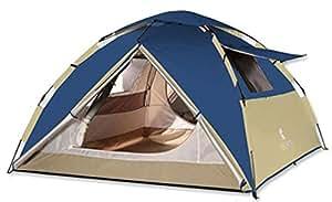 KEUMER ワンタッチテント 220*220*140cm 3-4人用 UPF50+ 耐水圧3000mm 設置簡単 フライシート付き フルークローズ可能 アウトドアキャンプ 登山 防災用テント (ネイビー)
