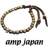 amp japan/アンプジャパン 6BTM-203BR ゴールド ナゲットビーズ レザーブレスレット(シルバースカル)