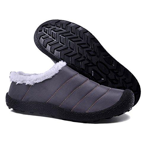 ルームシューズあったか メンズ 室内履きレディース 冬スリッパ 防寒冬靴 滑り止め 男女兼用 Luerman (26, グレー)