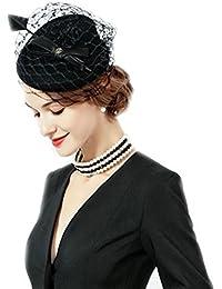 【ノーブランド品】 レディース飾り付きブラックベレー帽