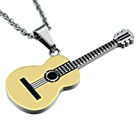 ususaiジュエリーステンレススチールギターペンダントネックレスメンズBoysチェーンW : 2mm L :チェーン22インチn01037 22inch ゴールド