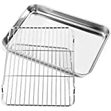 Nonstick Baking Sheet with Rack Set, Toaster Oven Tray Pan Stainless Steel Cookie Sheet with Cooling Rack Baking Pans 12.2 x