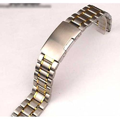 気分転換! 腕時計 交換ベルト ステンレス 無垢 3連 弓カン式 プッシュ式 (6 ゴールドアクセント 22mm)