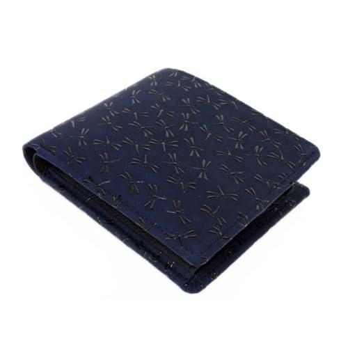 印傳屋 印伝 二つ折り財布 [2006 紺×黒 トンボ]