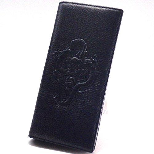 風水財布「龍」(長財布)(紺)(牛本革製)