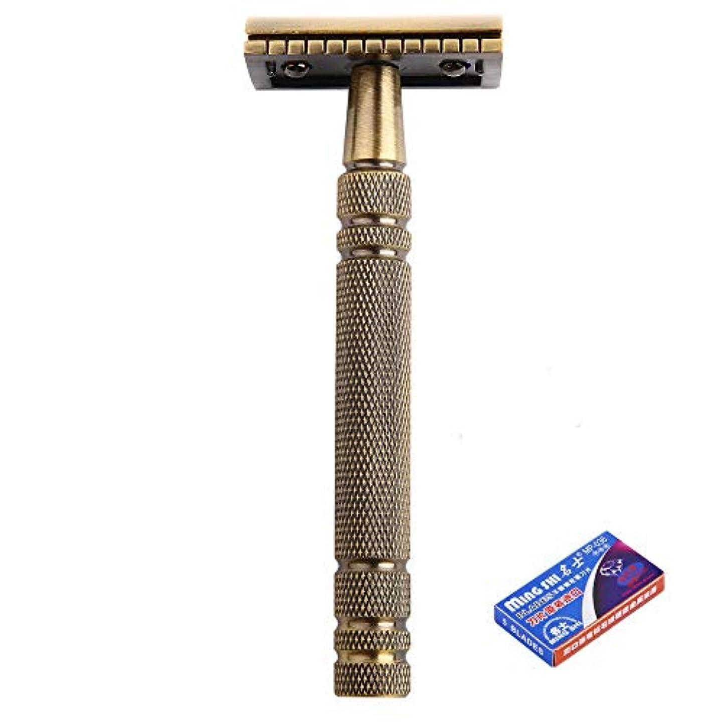 真鍮カミソリ本体 クラシック両刃ホルダー 髭剃 ダブルエッジかみそりメンズ 一枚刃カミソリ 替刃5枚付