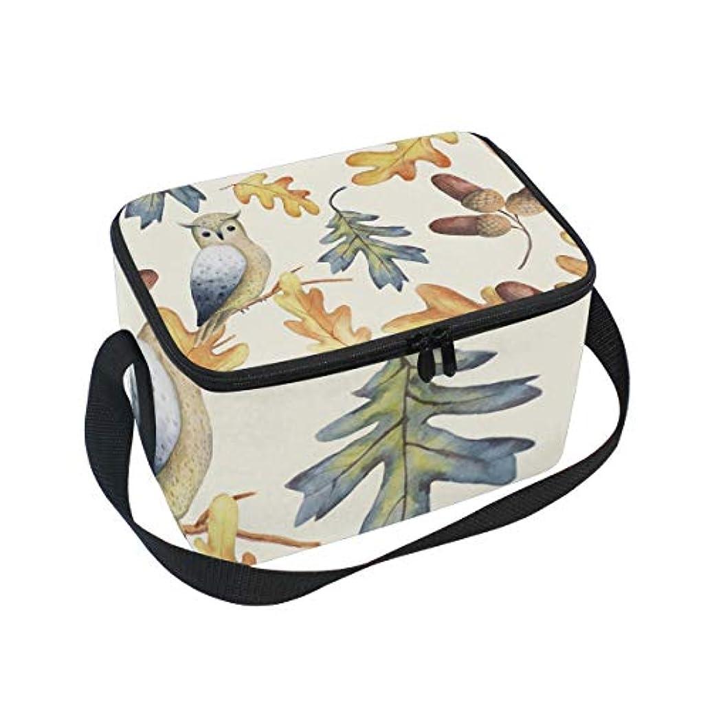 イライラする鷹スイクーラーバッグ クーラーボックス ソフトクーラ 冷蔵ボックス キャンプ用品 フクロウと木ノ葉柄 秋 保冷保温 大容量 肩掛け お花見 アウトドア