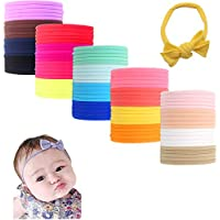 JOYOYO 100Pcs 20 Mix Colored Premium Quality Nylon Nude Headbands - Durable Hair Ties Holders for Heavy and Thick Hair - Super Soft and Stretchy for Newborns,Babies-Perfect for DIY/Craft/Hobby/Jumbo