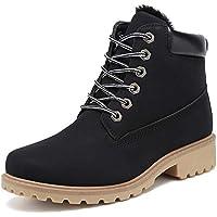 JITUUE Winter Snow Boots for Women Hiking Work Combat Ankle Booties Waterproof Lace up Low Heel