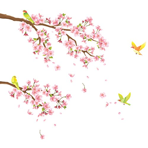 DECOWALL 桜と鳥 ウォール ステッカー デコ DW-1303
