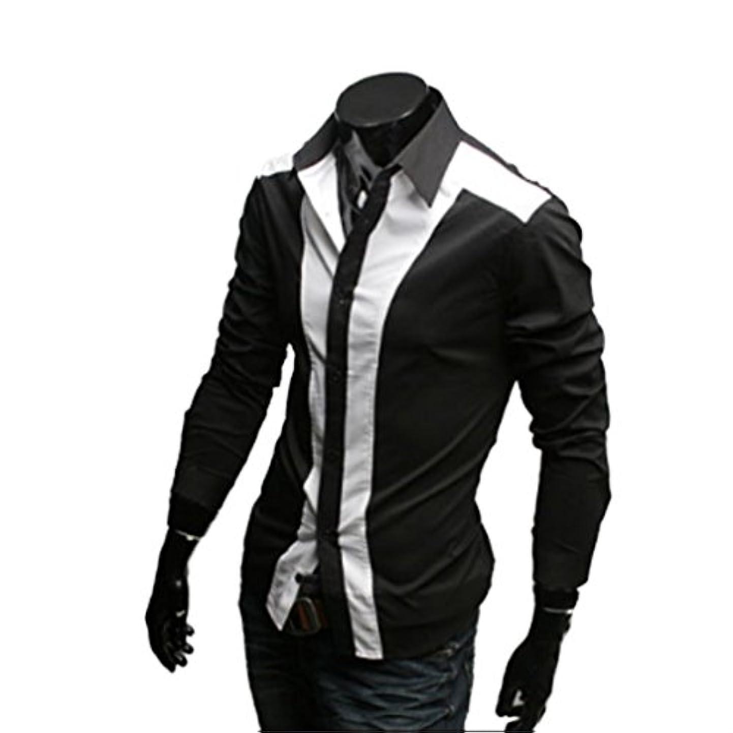 滑るリラックスしたハプニングHonghu メンズ シャツ 長袖  ステッチスリムブラック XL 1PC