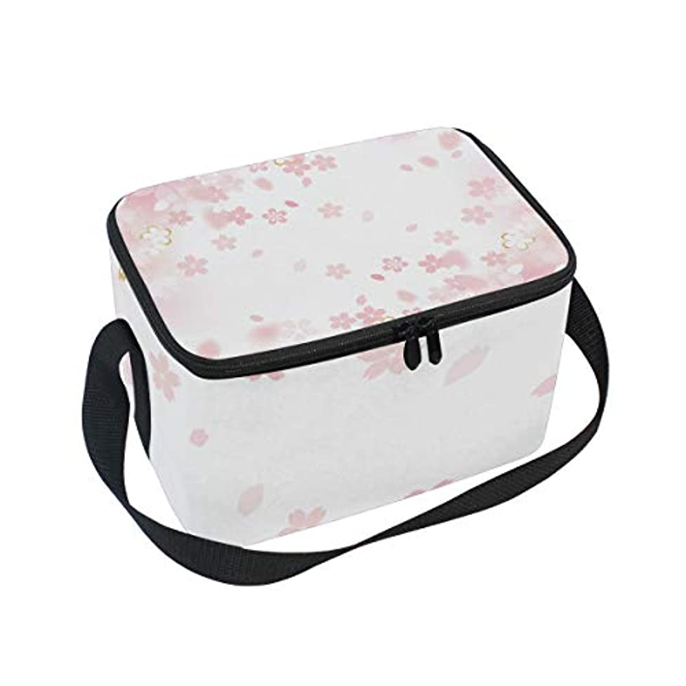 旋律的中古縞模様のクーラーバッグ クーラーボックス ソフトクーラ 冷蔵ボックス キャンプ用品 さくら 桜の花 綺麗 保冷保温 大容量 肩掛け お花見 アウトドア