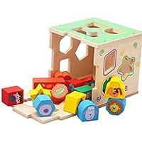Montessori Wooden Toys Kids 15穴インテリジェンスボックス動物&カラー&図形認識と形状ペアリングマッチングおもちゃセット