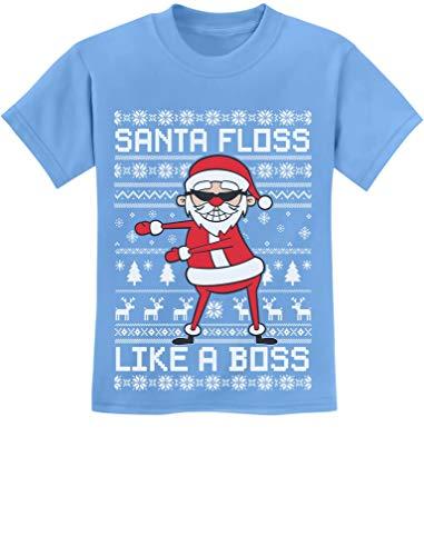 Tstars - Santa Floss Like a Boss Funny Ugly Christmas Sweater Youth Kids T-Shirt Medium California Blue