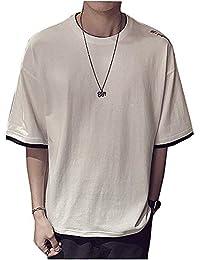 夏服 メンズ Tシャツ 半袖 綿 無地 軽い 柔らかい シルエット おしゃれ ファッション 人気 快適 薄手