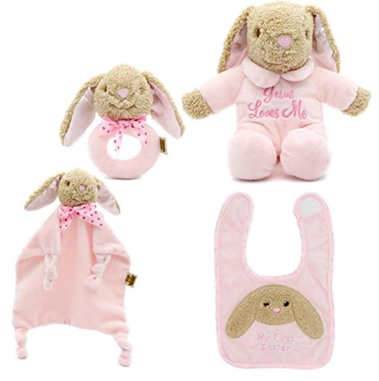 ShowkingキュートComfortersおもちゃコットンタオルソフトハンドタオルベビー掛け布団Toys PlushキュートヒップホップBearおもちゃ4個/セット_ピンク