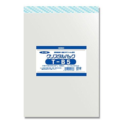 ヘイコー 透明 OPP袋 クリスタルパック テープ付 B5 100枚 T-B5