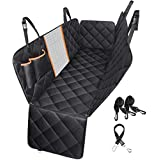 Car Pet Seat Cover Waterproof Dog Seat Cover with Mesh Visual Window & Seat Belt Dog Back Seat Hammock Bench Protector for Cars Trucks SUVs Family Travel, 147 x 137 cm Black & Orange