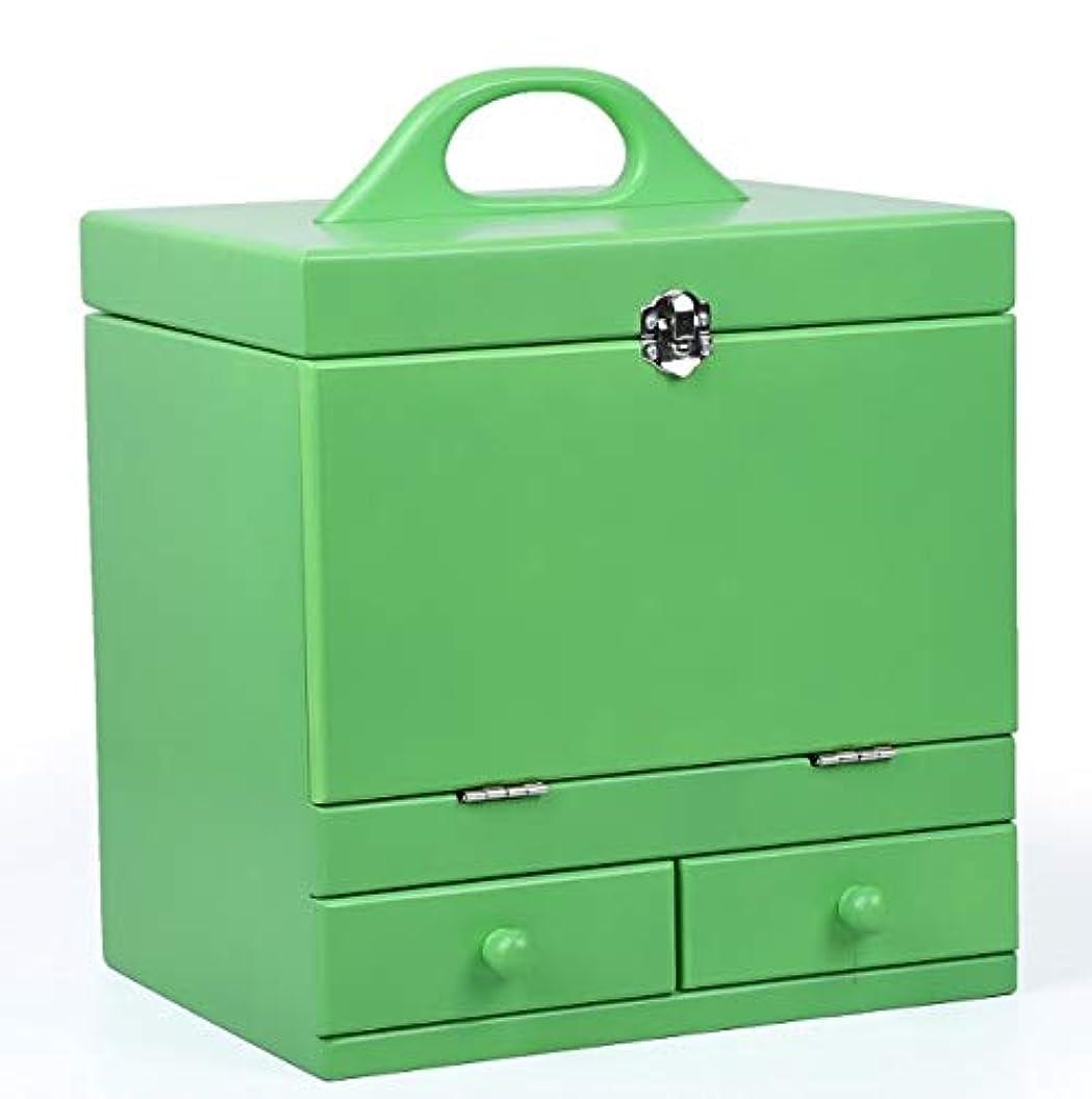 最近考案する従来の化粧箱、グリーンダブルデッカーヴィンテージ木製彫刻が施された化粧ケース、ミラー、高級ウェディングギフト、新築祝いギフト、美容ネイルジュエリー収納ボックス