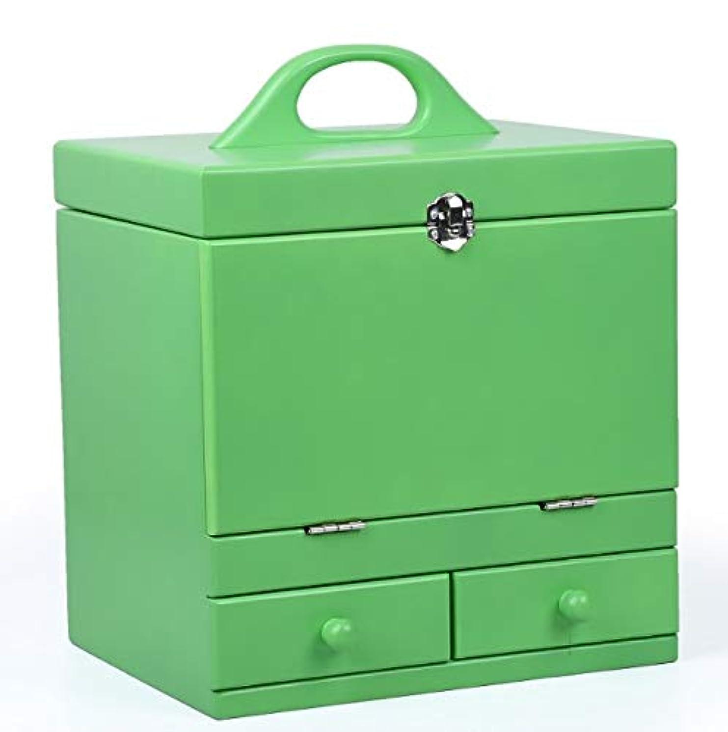 化粧箱、グリーンダブルデッカーヴィンテージ木製彫刻が施された化粧ケース、ミラー、高級ウェディングギフト、新築祝いギフト、美容ネイルジュエリー収納ボックス