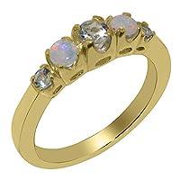 英国製(イギリス製) K18 イエローゴールド 天然 アクアマリン 天然 オパール レディース リング 指輪 各種 サイズ あり