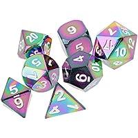 Jiliオンラインのセット7レインボー亜鉛合金multi-sided Diceホワイト番号ボード車パーティーゲームアクセサリー0.62インチ