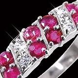 【訳あり 在庫処分】ルビー&ダイヤリング 指輪 ダブルエタニティーリング 7号 ファッション リング 指輪 天然石 ダイヤモンド top1-ds-1755962-ak [簡易パッケージ品]