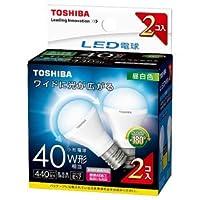 東芝 LED電球 小形電球形 440lm(昼白色相当)【2個セット】TOSHIBA LDA4N-G-E17/S/40W2P