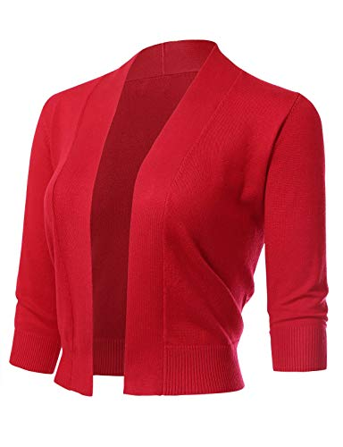 Twinklady Women's Classic 3/4 Sleeve Open Front Cropped Bolero Cardigan Short Shrugs Red Small