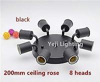 AiCheaX 200mm天井は、複数のE27セラミックネジランプホルダーエルボホルダーLed電球チューブライト照明アクセサリー卸売とバラ-(色:金、ベースタイプ:8頭)