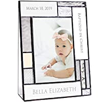 Baptism Gifts for Girls Or Boys Personalized Picture Frame Custom Engraved Glass 4x6 Vertical Photo Grey and Antique Yellow J Devlin Pic 392-46V EP615 [並行輸入品]