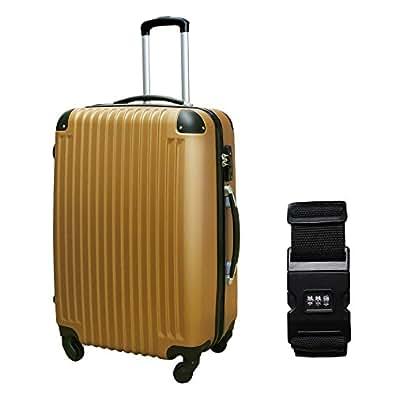 DABADA(ダバダ) 軽量 スーツケース S M Lサイズ 全8色 スタンダードベルト付 (S, ブロンズ)