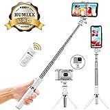 Humixx 自撮り棒 セルカ棒 三脚 ワイヤレスリモコンシャッター付き 360度回転 iPhone/Android/Goproカメラ対応 (ホワイト)
