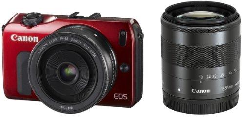 Canon デジタル一眼カメラ EOS M(レッド) ダブルレンズキット EOSMRE-WLK