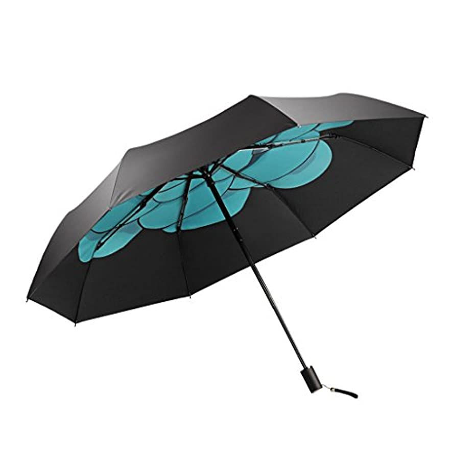荒れ地アラブ人血ウレタンビニルサンスクリーンUVプロテクション、3つ折り傘、軽量でポータブル (Color : Black)